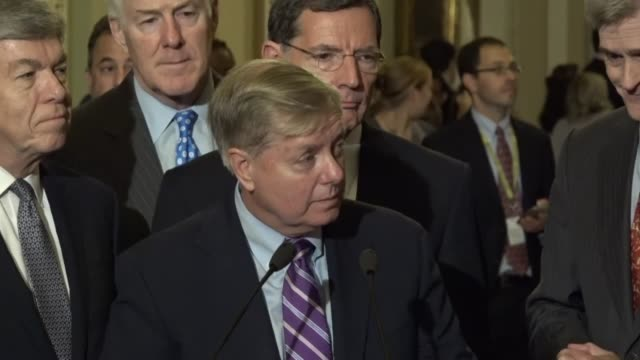 south carolina senator lindsey graham is asked about prospects for healthcare under his bill, cosponsored with louisiana senator bill cassidy. graham... - fare video stock e b–roll