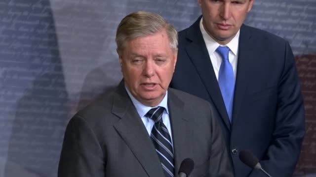 south carolina senator lindsey graham says at a news conference after a successful procedural vote on a war powers resolution regarding yemen that... - united states congress stock videos & royalty-free footage