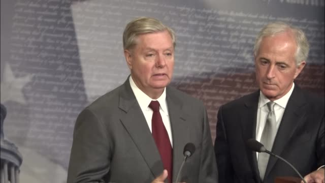 South Carolina Senator Lindsey Graham takes questions from reporters at a press conference on a bill bill regarding foreign aid to the Palestinian...