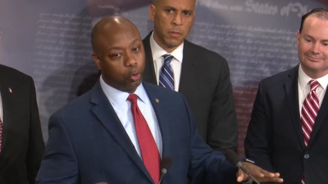 south carolina senator tim scott says at a bipartisan press conference after passage of criminal justice reform called the first step act that the... - senator stock videos & royalty-free footage