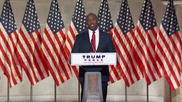 south carolina senator tim scott says in a keynote speech to the 2020 republican national convention first night that joe biden failed the nation's... - enacting stock videos & royalty-free footage