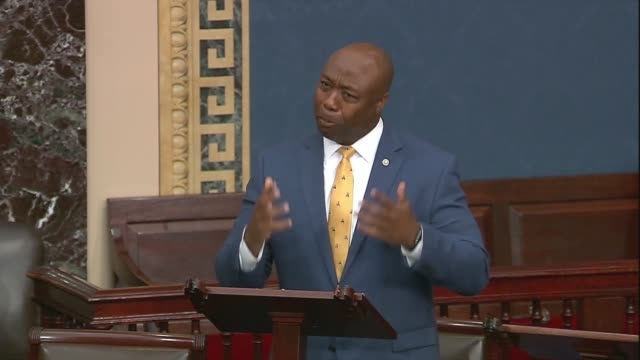 south carolina senator tim scott says in continuing an attack on democrats over his justice act policing reform bill that they cannot concern the... - office politics stock videos & royalty-free footage