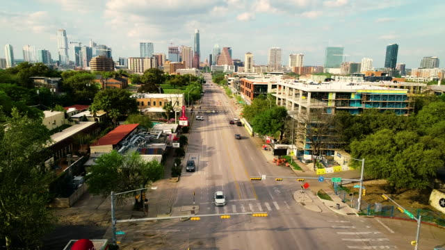 south congress avenue sunset long perspective down the capital austin texas cityscape views - texas stock videos & royalty-free footage