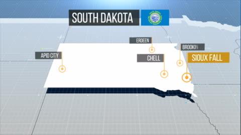 vídeos de stock, filmes e b-roll de mapa da dakota do sul - dakota do sul