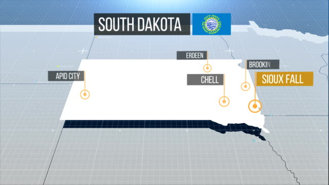 vídeos de stock e filmes b-roll de south dakota map - dakota do sul