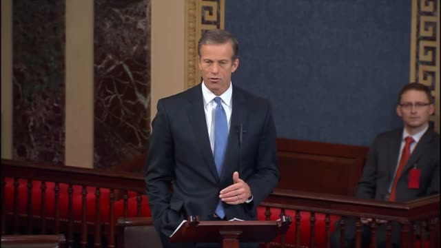 south dakota senator john thune discusses tests of a missile, and underground that nation and a satellite in 2016, collective punishment by the... - 大量破壊兵器点の映像素材/bロール