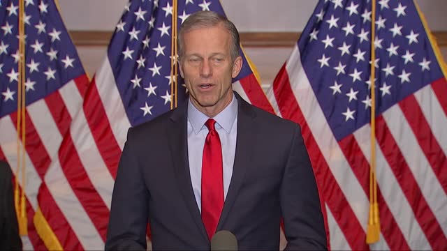south dakota senator john thune says at a weekly press conference that congress had a few things left to do with the coronavirus vaccine out there,... - partisan politics stock videos & royalty-free footage