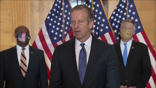 south dakota senator john thune says at republican press conference in opposition to increasing the federal minimum wage that republican colleagues... - south dakota stock videos & royalty-free footage