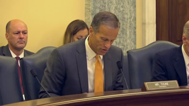 south dakota senator john thune says that shark research was being used to improve american lives by increasing understanding about oceans and... - united states congress stock videos & royalty-free footage