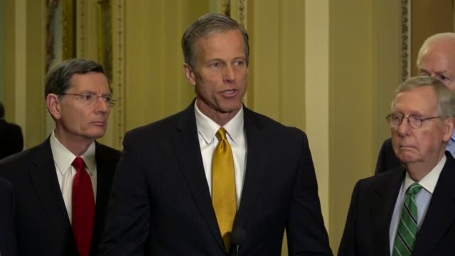 South Dakota Senator John Thune tells reporters at a weekly briefing that immigration reform or just want a campaign issue over Deferred Action for...