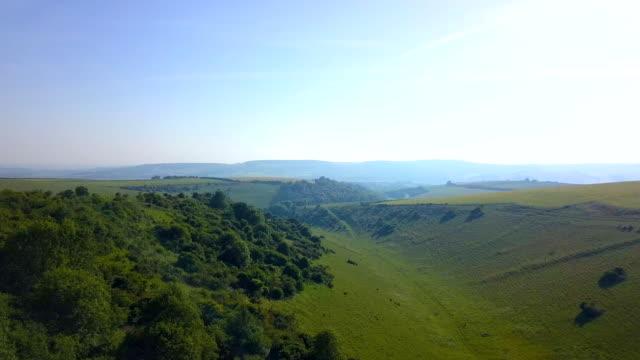 south downs chalk grassland, spectacular aerial view. - サウスダウンズ点の映像素材/bロール