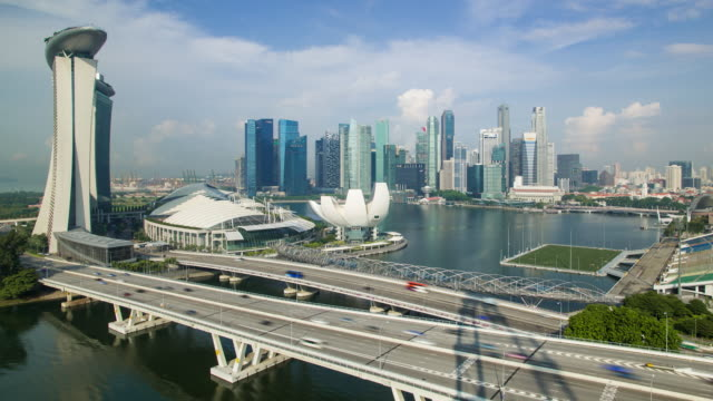 south east asia, singapore, view of the downtown singapore skyline and marina bay - marina bay sands stock videos and b-roll footage