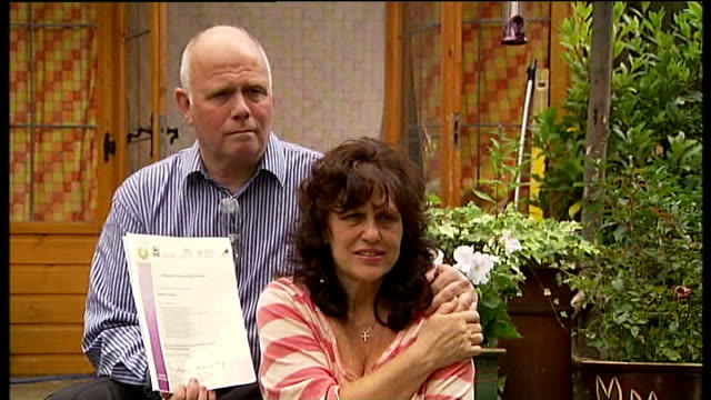 south east london: lee green: ext barry mizen and margaret mizen posing for photocall with their son's posthumous gcse results - general certificate of secondary education stock videos & royalty-free footage