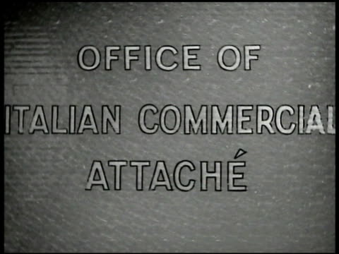 south ferry building office of italian commercial attache ext office of consul john h shaw people walking into office business man talking w/ shaw - 1935 stock-videos und b-roll-filmmaterial