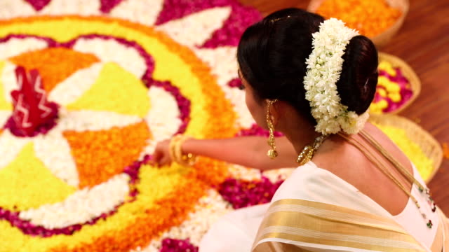 South indian woman celebrating onam festival, Delhi, India