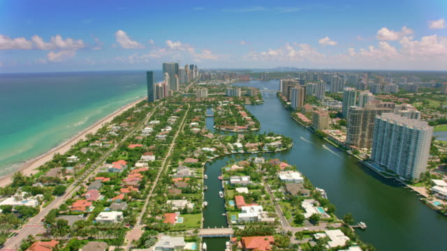 aerial south island and golden beach in florida - miami stock videos & royalty-free footage