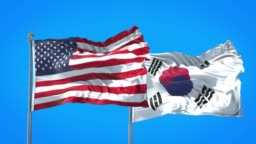 South Korea and United States flag waving in deep blue sky together. High Definition 3D Render.