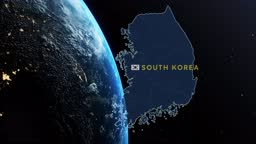 South Korea Country Map and Flag on Planet Earth While Spinning in Outer Space Against Black Background with Stars