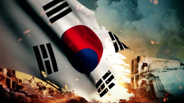 4 k 韓国旗 - 危機/戦争/火災 (ループ) - 韓国点の映像素材/bロール