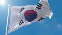 South Korea flag flowing in the wind