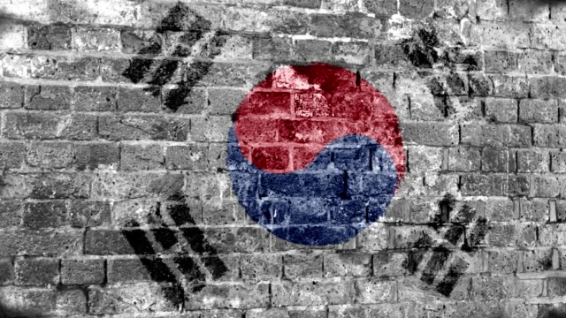 south korea flag grunge wall. 4k - south korean flag stock videos & royalty-free footage