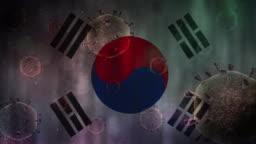 South Korea flag illustration with Coronavirus COVID-19 Virus