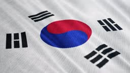 South Korea flag is waving 3D illustration. Symbol of national on fabric cloth 3D rendering in full perspective.