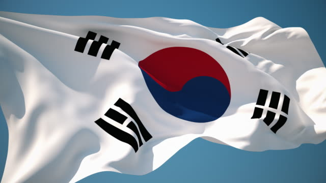 4k south korea flag - loopable - south korean flag stock videos & royalty-free footage