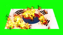 south Korea flag on fire burning animation