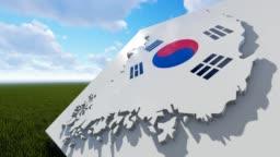 South Korea Flag On Map Background