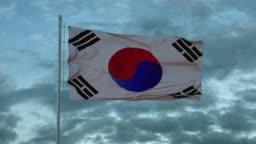 South Korea Flag Waving 3D Rendering Cloud Sky Background - Seamless Loop 4K