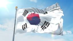 South Korea flag waving in the wind against deep blue sky. National theme, international concept. 3D Render Seamless Loop 4K