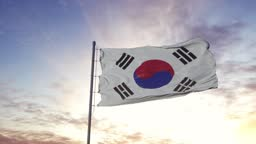 South Korea flag waving in the wind, dramatic sky background. 4K