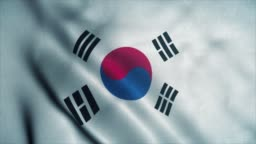 South Korea flag waving in the wind. National flag of South Korea. Sign of South Korea seamless loop animation. 4K