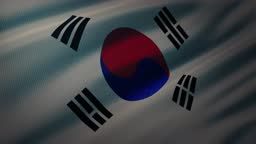 4K South Korea flag waving in the wind with highly detailed fabric texture