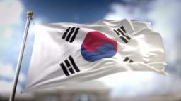 South Korea Flag Waving Slow Motion 3D Rendering Blue Sky Background - Seamless Loop 4K