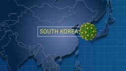 South Korea is Pointed in World Map While Zoom In To Coronavirus Animation Badge in 4K Resolution