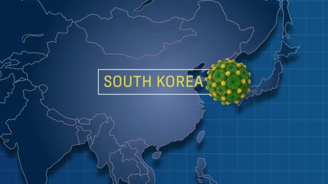 south korea is pointed in world map while zoom in to coronavirus animation badge in 4k resolution - south korea stock videos & royalty-free footage