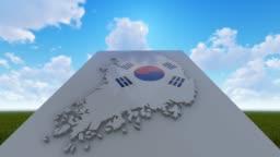 South Korea Map Background Under Blu Sky