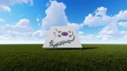 South Korea Map Background With Blue Sky And Green Grass