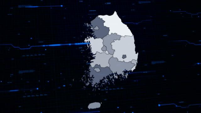 De kaart van het netwerk van de Zuid-Korea