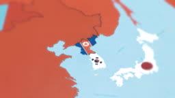 South Korea, North Korea with National Flag on World Map