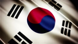 South Korea realistic national flag seamless looped waving animation