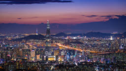 South Korea skyline of Seoul City, The best view of South Korea with Lotte world mall at Namhansanseong Fortress.