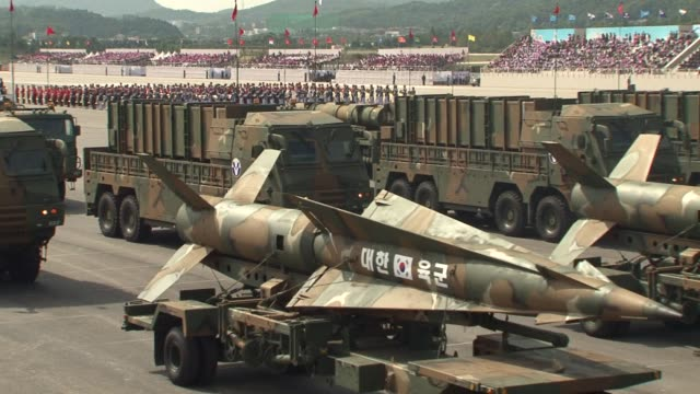 south korea stages its largest military display for a decade as president park geunhye warns of the very grave threat posed by north korea's nuclear... - südkorea stock-videos und b-roll-filmmaterial
