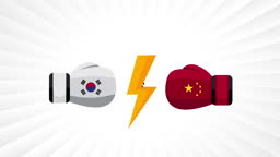 South Korea vs China. Concept of trade war, fight, sport match or war between south korea and china.