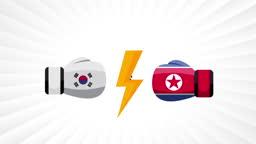 South Korea vs North Korea. Concept of trade war, fight, sport match or war between South Korea and North Korea.