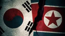 South Korea vs North Korea Flags on Cracked Wall