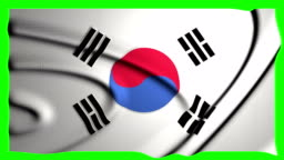South Korea Waving Flag Green Screen South Korean Animation