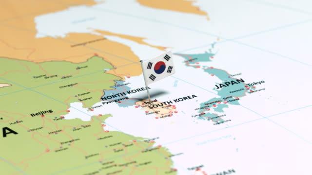 Corée du Sud avec drapeau National